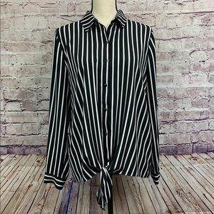 Susan Graver Black & White Striped Blouse